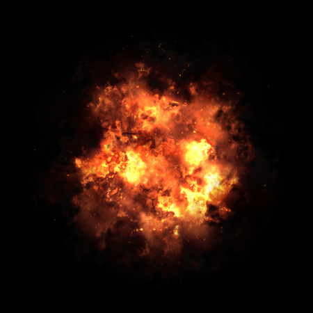 explosion: Fire ball isolated on black background Stock Photo