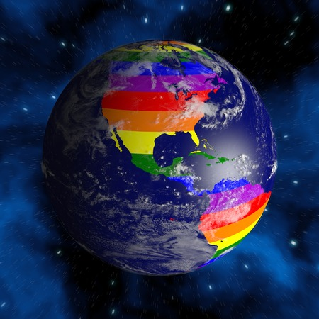 bisexual: Earth From Space. Continents Colored In LGBT Colors.
