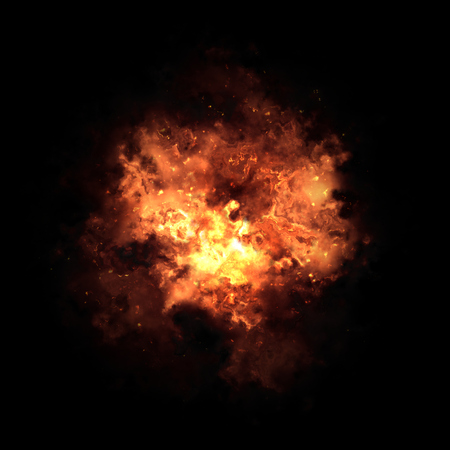 inferno: Fire explosion isolated on black background Stock Photo