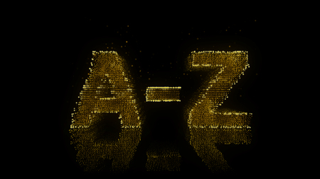 az: Alphabet A-Z Sign Made of Glowing Particles On Reflective Surface.
