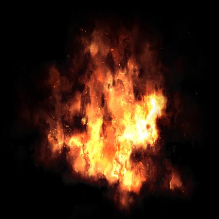 resplandor: Explosión de fuego aislado en el fondo Negro Foto de archivo