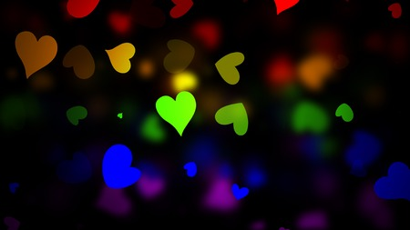 LGBT Flag with Blured Hearts Effect