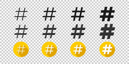 Hashtags icons. Flat style icons hashtag on transparent background. Icons for web. Vector illustration