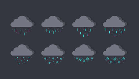 Cloud icons. Dark gray clouds. Rain clouds. Snow clouds. Concept clouds. Vector illustration