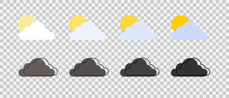 Cloud with sun. Flat style clouds. Abstract clouds. Concept clouds. Vector illustration