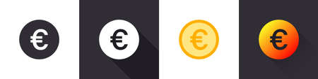 Euro icons. Euro sign. Money symbols. Flat icons in a different style. Vector illustration