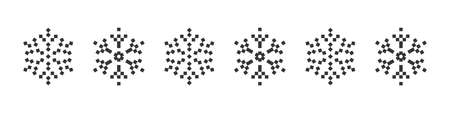 Snowflake icons set. Pixel icons. Christmas icons. Black pixel snowflakes on a white background. Vector illustration