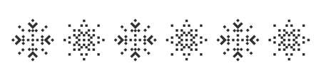 Snowflake icons set. Pixel snowflake. Christmas icons. Black pixel snowflakes on a white background. Vector illustration 矢量图像