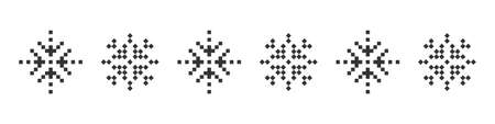 Snowflake icons. Pixel snowflake. Christmas icons. Black pixel snowflakes on a white background. Vector illustration 矢量图像