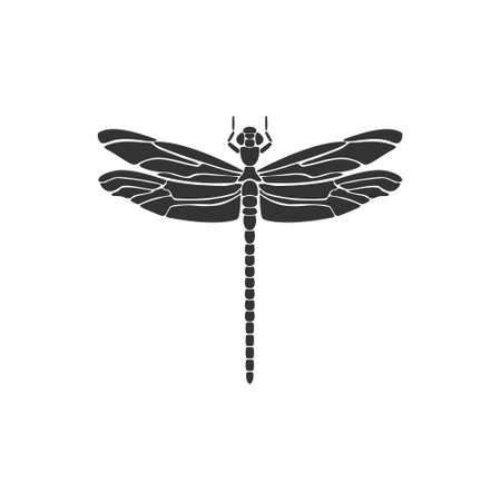 Dragonfly icon. Black dragonfly sign. Flat design. Silhouette icon. Vector illustration 向量圖像