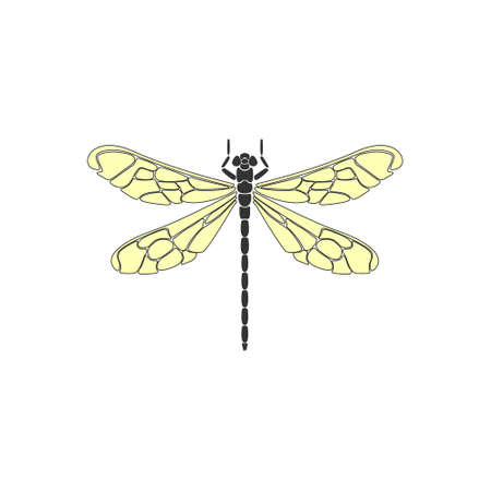 Dragonfly. Black dragonfly with yellow wings on white background. Flat design. Silhouette icon. Vector illustration