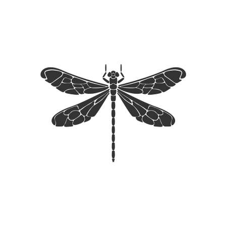 Dragonfly icon. Black dragonfly sign on white background. Flat design. Silhouette icon. Vector illustration 向量圖像