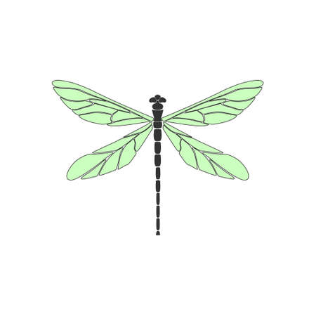 Dragonfly. Black dragonfly with green wings on white background. Flat design. Silhouette icon. Vector illustration 向量圖像