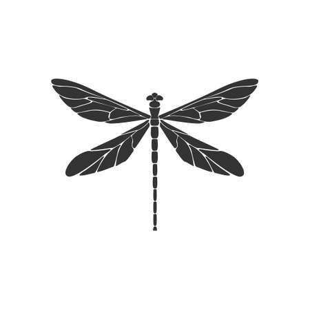 Dragonfly icon concept. Black dragonfly sign on white background. Flat design. Silhouette icon. Vector illustration