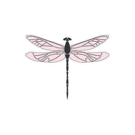 Dragonfly. Black dragonfly with pink wings on white background. Flat design. Silhouette icon. Vector illustration