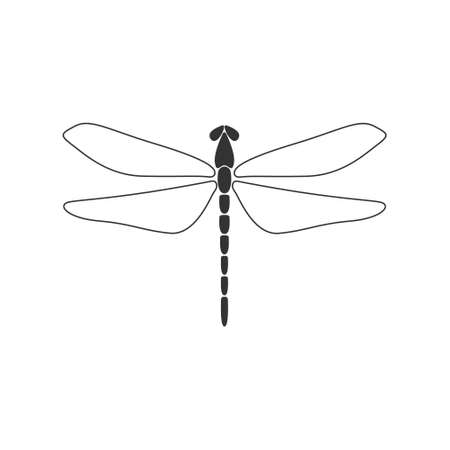 Dragonfly concept. Black dragonfly with linear wings on white background. Flat design. Silhouette icon. Vector illustration