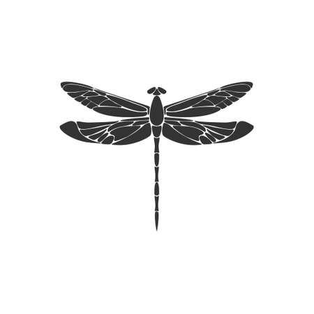 Dragonfly. Black dragonfly sign on white background. Flat design. Silhouette icon. Vector illustration 向量圖像