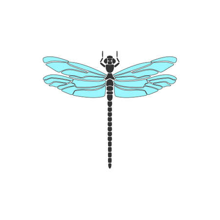 Dragonfly. Black dragonfly with blue wings on white background. Flat design. Silhouette icon. Vector illustration