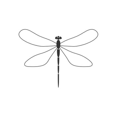 Dragonfly. Black dragonfly with linear wings on white background. Flat design. Silhouette icon. Vector illustration