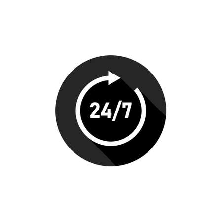 24 hour assistance icon. 24/7 Service open 24h hours a day and 7 days a week. Vector illustration