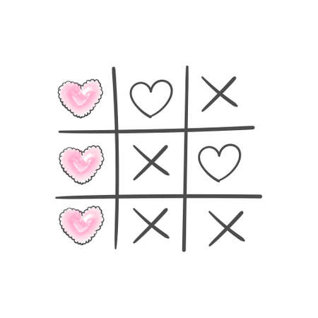 Happy valentines day greeting card. Tic tac toe game with criss cross and hearts. Hand drawn. Vector illustration