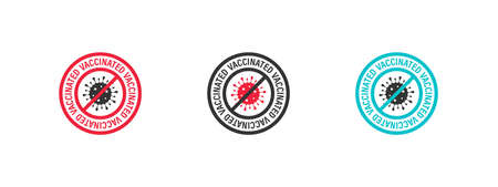 Vaccination icons. Stamp sign. Vaccine confirmation. I got vaccinated. Flat vector. Vector illustration