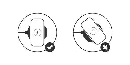 Wireless chargers instruction. Wireless charger. Trendy flat wireless charging. Vector illustration