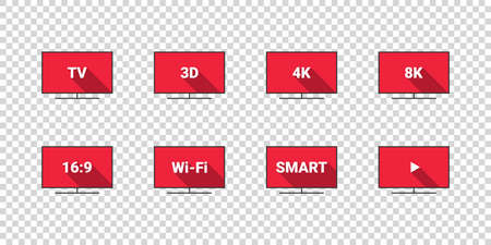 TV features: 3D, 4K, 8K, 16: 9, WiFi. Flat style. TV icons vector set. Vector Illustration