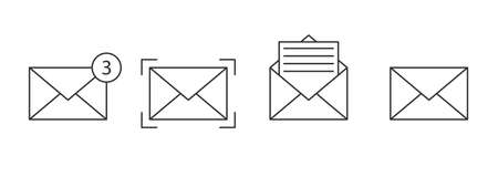 Notification icons linear. Message icons set. Email icons. Envelope icons. Vector illustration