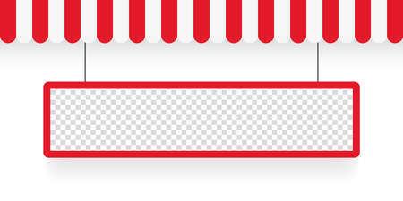 Banner and awnings. Striped awning. Tent sun shade for market on white background. Vector illustration