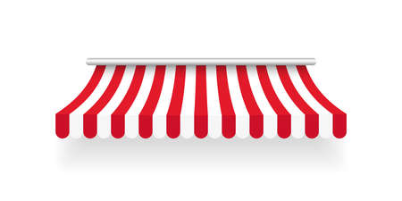 Red striped awning. Tent sun shade for market on white background. Vector illustration