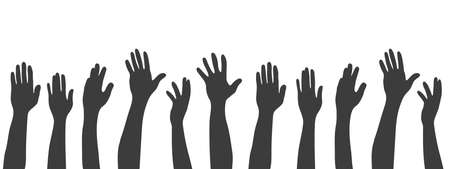 Set of silhouettes hands. Black human hands. Arms and hands raised. Vector illustration