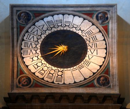 fresco of clock from Paolo Ucello Stok Fotoğraf