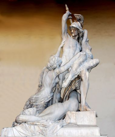 sculpture by Pio Fedi 1866 representing the rapt of Polissena by Pirro