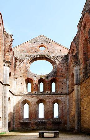 old church from the     abbey San Galgano Tuscany