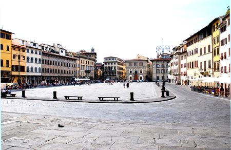 The famous Piazza Santa Croce in Florence Tuscany 版權商用圖片