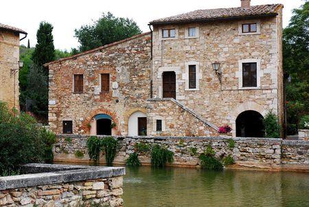 Vignoni thermal bath in Tuscany Stok Fotoğraf