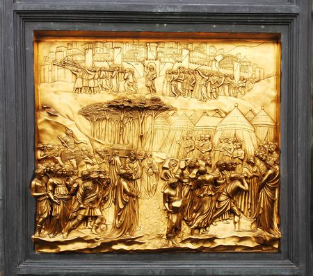 detail of the door of Baptister of Duomo florence Tuscany Stok Fotoğraf