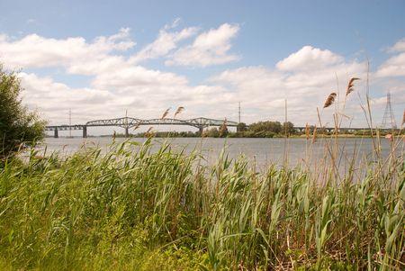 bridge on St-Laurent River in Montreal Stok Fotoğraf