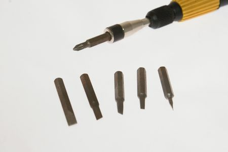 Small screwdriver with white background