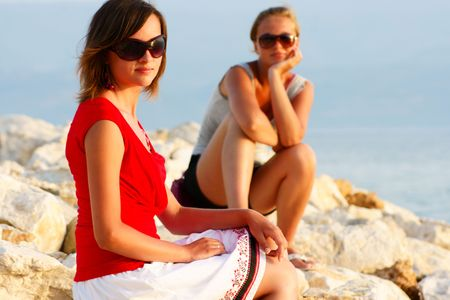 young girls in Croatia beach Stock Photo - 4687868