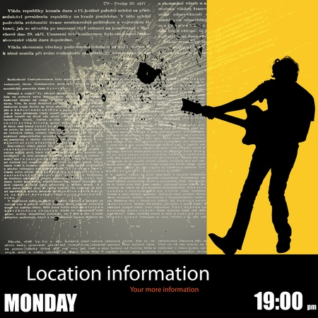 Guitarist Background, Flyer Template  Vector