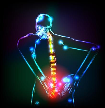 Columna vertebral humana en rayos x, el dolor de espalda Ilustración de vector