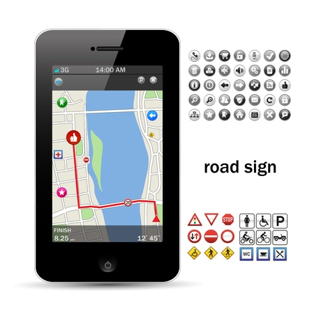 phone navigation with road sign Stock Vector - 11074488