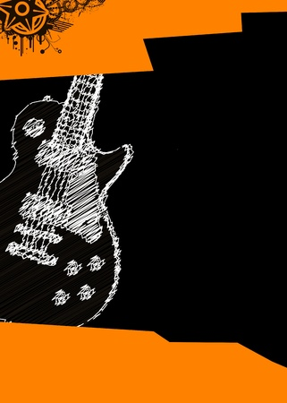 vector music poster with guitar Vector