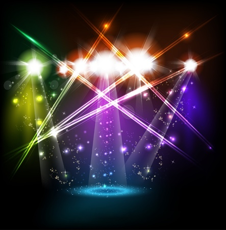 banner neon light stage background for your text Illustration