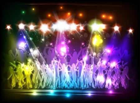 chicas bailando: La luz parte del Club y la gente baila