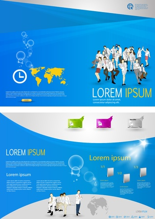 Template with business people  Ilustrace