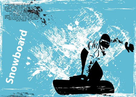 grunge snowboard background  Vector