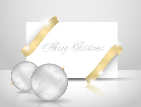 Christmas card, golden ribbon paper  Vector